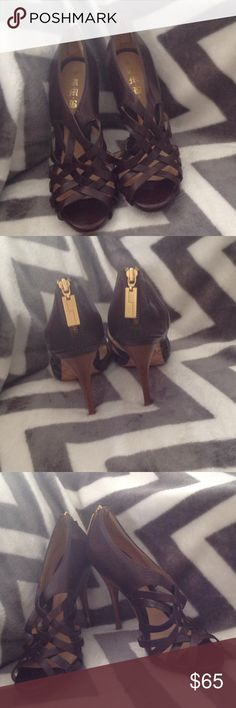 L.A.M.B. Brown leather 4 inch stiletto heel Worn 2 times Brown leather 4inch stiletto heel Beautiful shoes! L.A.M.B. Shoes Sandals