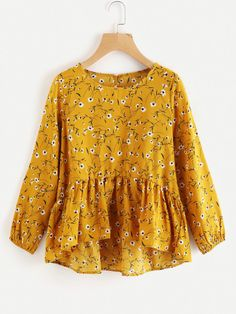 SheIn offers Calico Print Frill Dip Hem Blouse & more to fit your fashionable needs. Girls Fashion Clothes, Girl Fashion, Clothes For Women, Blouse Styles, Blouse Designs, Hijab Fashion, Fashion Dresses, Hijab Stile, Skirt Outfits