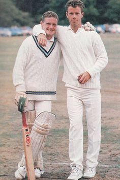 Summer 1991. Spurs duo Paul Gascoigne and David Howells during a day's cricket.