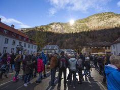 A crowd forms for the official opening of giant sun mirrors in the town of Rjukan, Norway, Wednesday.