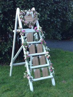 Vintage Wedding Table Plan - Ladder Hire - Wiltshire/Bristol/Somerset/Bath in Home, Furniture DIY, Wedding Supplies, Other Wedding Supplies Ladder Wedding, Wedding Props, Wedding Hire, Wedding Events, Rustic Wedding, Diy Wedding, Wedding Ideas, Trendy Wedding, Weddings