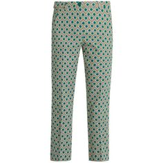 Weekend Max Mara Vadet trousers ($175) ❤ liked on Polyvore featuring pants, capris, green print, cropped trousers, cropped pants, green crop pants, green pants and light weight pants