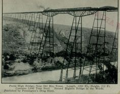 Any takers for crossing this bridge? When it was built in 1892, the Pecos High Bridge was the highest bridge in North America and, despite what this postcard says, was the third highest bridge in the world. The bridge was located near Del Rio and was dismantled in 1949 (Handbook of Texas). (published by Pennington's Drug Store, date unknown)