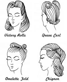 Four lovely 1940s hairstyles. #vintage #1940s #hair