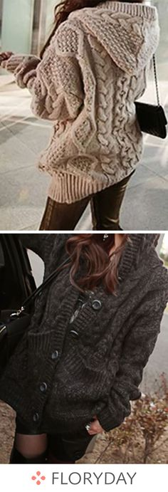 V-Neckline Solid Loose Long Buttons Sweaters, v-neckline, solid sweaters, loose sweater, winter tops. Winter Stil, Fall Winter, Winter Tops, Loose Sweater, Up Girl, Looks Style, Mode Style, Pullover, Fashion Outfits