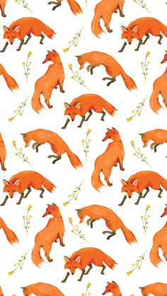 Cute Wallpaper Backgrounds, Animal Wallpaper, Pretty Wallpapers, Phone Backgrounds, Iphone Wallpaper, Textile Pattern Design, Textile Patterns, Pattern Art, Fox Pattern