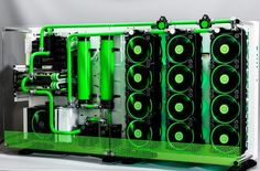 Three massive radiators for that wonderful green liquid cooling. Love it.