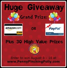 Enter to WIN $300 and 30 Prizes!  http://pennypinchingpolly.com/augmultivendorgiveaway/