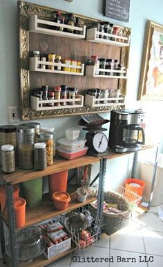Save valuable counter space with hanging spice racks