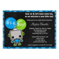 Adorable ROBOT Baby Shower Invitation boy! Make your own invites more personal to celebrate the arrival of a new baby. Just add your photos and words to this great design.