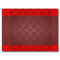 Exotic Red and Black damask wedding gift Postcards