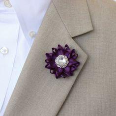 Mens Lapel Flower Pin Custom Lapel Pin Purple Boutonniere...