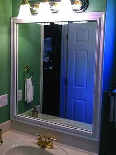Custom bathroom mirror frames from the Reflection Collection for a bathroom makeover. Bathroom Mirror Makeover, Bathroom Mirror Cabinet, Bathroom Art, Modern Bathroom, Small Bathroom, Bathroom Ideas, Bathroom Renovations, Vanity Bathroom, Bathroom Designs