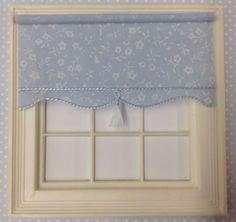 1 12 miniature BLIND for Dollshouse x 5 cms Pastel Blue With Ivory Flowers House Blinds, Pastel Blue, Valance Curtains, Miniatures, Ivory, Flowers, Dolls, Home Decor, Ebay