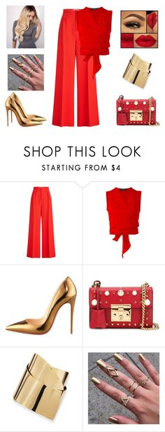 """Christmas"" by gabriel-sampaiooo ❤ liked on Polyvore featuring Roland Mouret, Jean-Louis Scherrer, Christian Louboutin, Gucci and Alexis Bittar"