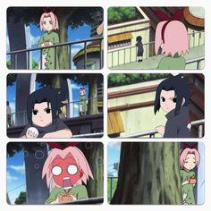 young sasuke & sakura this is not weird at all. Sakura reminds me when I was little Naruto Kakashi, Anime Naruto, Sasuke Sakura Sarada, Naruto Cute, Naruto Shippuden Anime, Otaku Anime, Anime Meme, Manga Anime, Wallpapers Naruto