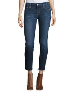 MOTHER The Looker Ankle Fray Girl-Crush Denim Jeans, Blue. #mother #cloth #