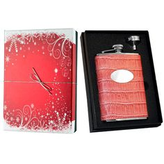 Visol Products Essential II Crocodile Leatherette Holiday Liquor Flask Gift Set Finish: Merveilleux Pink