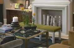 Birch logs complement fireplace  - Interior Design Ideas for Birch Logs and Branches