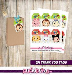 24 Tsum Tsum Thank you Tags instant download Printable Tsum