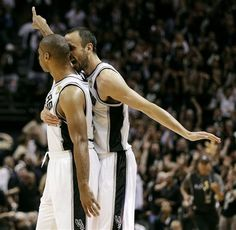 Manu celebrates with Gary Neal. (June 11, 2013 | NBA Finals 2013 | Game 3 | Miami Heat @ San Antonio Spurs | AT Center in San Antonio, Texas)