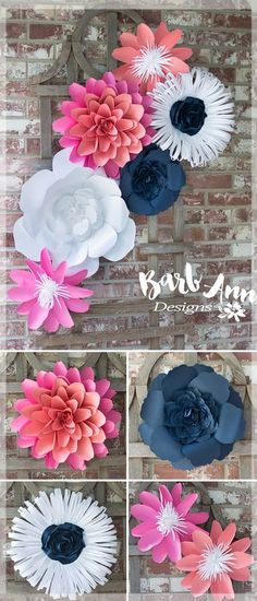 Navy, Peach, & Pink Paper Flower Wall backdrop