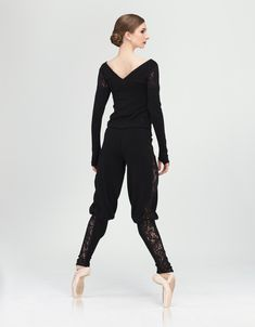 BRUME - These comfortable and incredibly soft knit lace pants are a gem. Tailored at the bottom, these pants keep out of your way while you are dancing. The knit lace panel on the sides make a statement. Decorative bow is attached to the wide comfort elastic waistband. #wearmoi #ballet #warmups