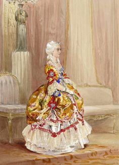 Queen Victoria in roccoco s costume for a Fancy ball in 1845. By Louis Haghe