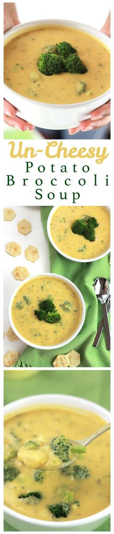 Un-Cheesy Potato Broccoli Soup Rich and hearty, this Un-Cheesy Potato & Broccoli Soup is full of flavor and comes together in minutes!Rich and hearty, this Un-Cheesy Potato & Broccoli Soup is full of flavor and comes together in minutes! Vegan Soups, Vegan Dishes, Vegan Vegetarian, Vegetarian Recipes, Healthy Recipes, Paleo, Vegan Food, Vegan Potato Soup, Whole Food Recipes