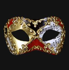 Black Red And Gold Musical Men's Mask