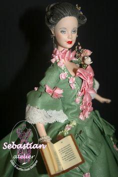 """Portrait de """"La Pompadour"""" 1ère de la série de 5 poupées"""