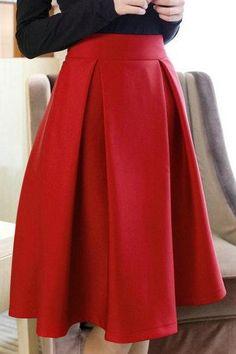High Quality Cute Women Autumn/Winter Skirts, Burgundy Skirts, Red Skirts, Women…
