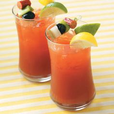Dill Bloody Marys; basic recipe. Add more pickle juice, use pure tomato juice, a tad extra hot sauce, garnishes unnecessary ;)