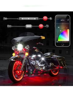 XK Glow 15 Pod 15 Strip App Control Motorcycle LED Accent Light Kit