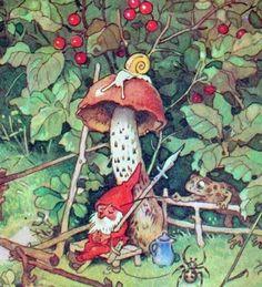 Gnome and mushroom with visiting toad - fritz baumgarten Woodland Creatures, Magical Creatures, Baumgarten, Arte Indie, Elves And Fairies, Mushroom Art, Fairytale Art, Flower Fairies, Fairy Art
