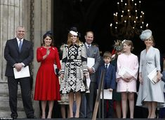 Happy days: (From left): Prince Andrew, Princesses Beatrice and Eugenie, Prince Edward and his children Lady Louise Windsor and James, Viscount Severnand, and his wife Sophie Countess of Wessex all stand gleefully on the steps of St Paul's Cathedral following the service