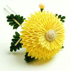 Yellow Maiko Chrysanthemum Kanzashi Silk Flower Hairpin, Marissa Rojas, etsy, $380.00, yellow, hair accessory