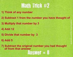 Fun Helpful Mental Strategies For mind reading tricks math Funny Riddles, Jokes And Riddles, Math Jokes, Number Riddles, Jokes Kids, Funny Puns, Brain Tricks, Mind Tricks, Cool Math Tricks