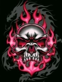 Pink and black skull