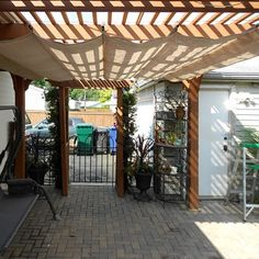 Make your own retractable shade awning by creating pockets for steel or wood bars. A steel ring at the end of the bars allow the awning to slide along steel wire mounted across the span of a patio. http://www.easydiy.co.za/index.php/garden/479-the-shady-side-of-summer