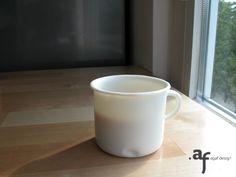 "Agaf Design ""White Chocolate"" porcelain coffee mug in a kitchen"