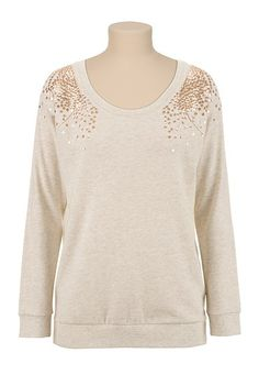 Sequin shoulder Scoop Neck Pullover (original price, $34) available at #Maurices
