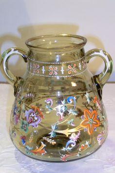 HARRACH ENAMELED VASE WITH TWO HANDLES Circa 1870 www.madforglass.com An Aeroplane, Crystal Glassware, Antique Glass, Glass Collection, Arts, Czech Glass, Art Nouveau, Glass Art, Swarovski