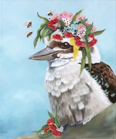 """""""Kookaburra and Bees - Print - stretched canvas - ready to hang """" by Mia Laing. Paintings for Sale. Bluethumb - Online Art Gallery World Art Day, Buy Art Online, Australian Artists, Stretched Canvas, Paintings For Sale, Artist Art, Online Art Gallery, Graphic Illustration, Bees"""