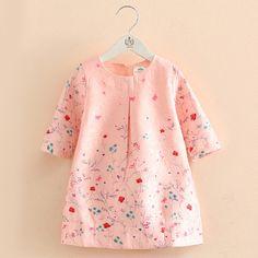 >> Click to Buy << Christmas Girls Dress Flowers A-Line O-neck Three Quarter Sleeve Princess Dress Children Pink Clothing For School Wedding #Affiliate