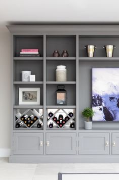 Built In Shelves Living Room, Living Room Wall Units, Living Room Storage, New Living Room, Living Room Designs, Living Room Decor, Living Room Cupboards, Alcove Cupboards, Open Plan Kitchen Dining Living