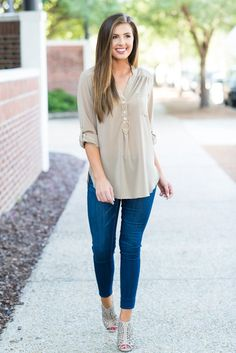 """Blush Delivery Blouse, Taupe""This top is so sweet it'll make you blush! It's wonderfully simplistic and comfy!"