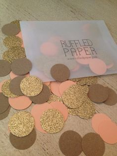 Party Confetti Gold Glitter Kraft and Coral 1 inch (100 pieces) via Etsy