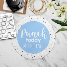 Mouse Pad, Punch Today In The Face, Funny Mousepad, Desk Accessories, Mousepad Quote, Cubicle Accessories, Cute Dorm Decor, White Polka Dot