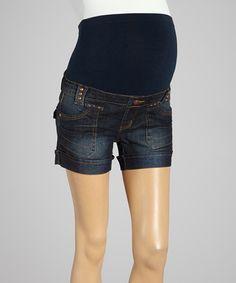 Look at this #zulilyfind! Dark Wash Over-Belly Maternity Shorts by Bella Vida Jeans #zulilyfinds